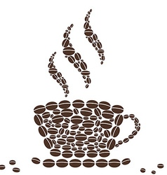 Hot Cup of Coffee with Bean Pattern vector image