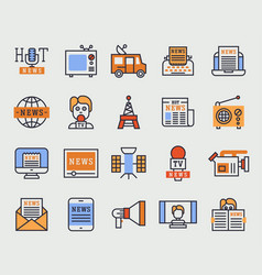 hot news tv website icons flat style vector image
