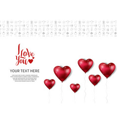 I love you design with heart balloon isolated vector