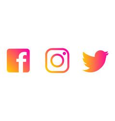 Instagram twitter facebook logo vector