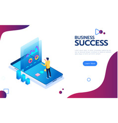 isometric financial success concept businessman vector image