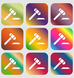 Judge hammer icon Nine buttons with bright vector