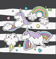 Kawaii clouds with rainbow and thunder with vector