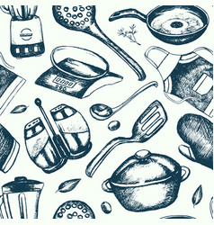 Kitchen ware - hand drawn seamless pattern vector