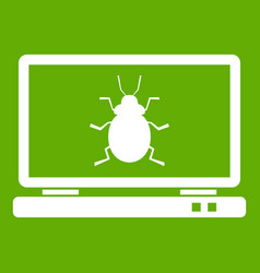 laptop icon green vector image