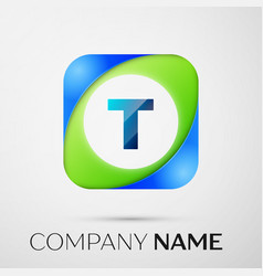Letter t logo symbol in the colorful square vector