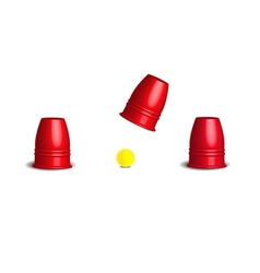 Magic cup games with three stainless red cups vector image