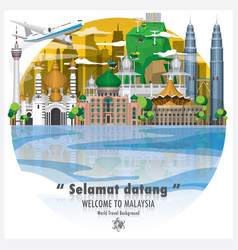 Malaysia landmark travel and journey background vector