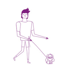 man walking with little dog isolated icon white vector image