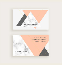 Marble business card with triangle shapes vector