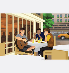 Men playing music together vector