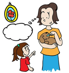 mom with thought bubble feeding a dog vector image