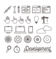 Monochrome background with set of elements for vector