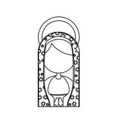 Monochrome contour of half body faceless virgin of vector