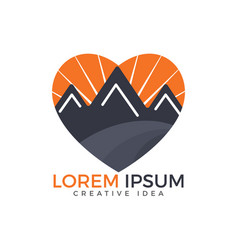 mountains love logo design vector image