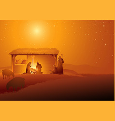 nativity scene holy family in stable vector image