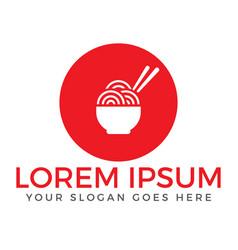Noodle restaurant and food logo design vector