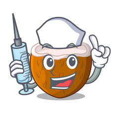nurse cartoon delicious ripe coconuts for drinking vector image
