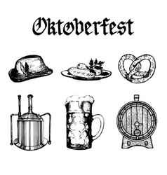 oktoberfest symbols collection drawn vector image