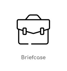 Outline briefcase icon isolated black simple line vector