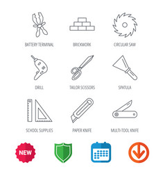 paper knife spatula and scissors icons vector image