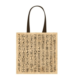 Paper shopping bag with egypt hieroglyphs for your vector