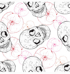 pattern with poppies and skulls vector image vector image