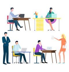People working in office distant workers freelance vector