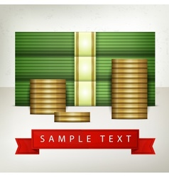 Piles of money and coins vector