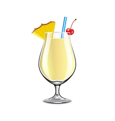 Pina colada cocktail isolated on white vector image