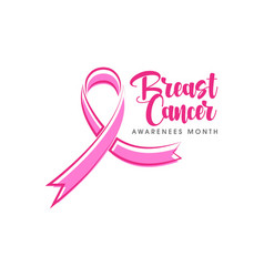 Pink ribbon breast cancer icon vector