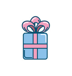 present gift with ribbon bow design vector image