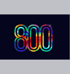 Rainbow colored number 800 logo company icon vector