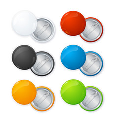 Realistic empty color blank circle button badge vector