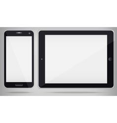 Realistic Tablet PC and Phone with white screen vector