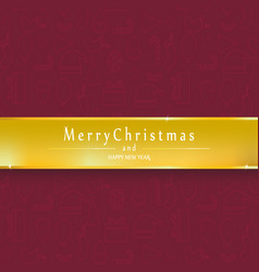 red background merry christmas and happy new year vector image