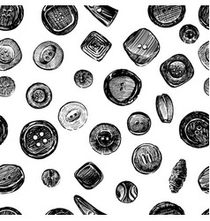 seamless pattern of sketches of various buttons vector image