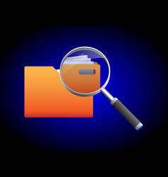 Search folder and magnifying glass icon vector