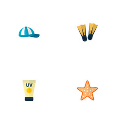 set of beach icons flat style symbols with cap vector image