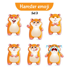 Set of cute hamster characters set 3 vector