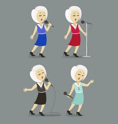 Singing girl set pop singer vector