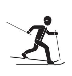 skiing person black concept icon skiing vector image