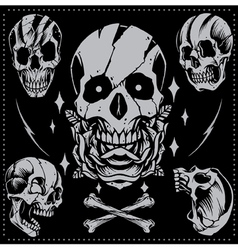 Skull old school style vector