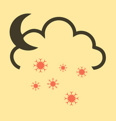 Snow cloud and month simple flat symbol icon vector