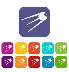 Sputnik icons set vector