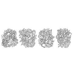 sri lanka cartoon doodle designs set vector image