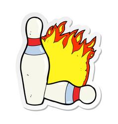 Sticker of a cartoon ten pin bowling sign vector