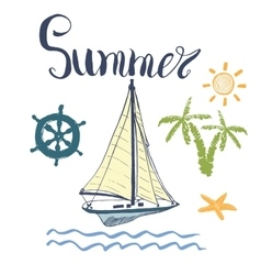 Summer Yacht Anchor Navy vector