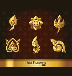 Thai art pattern set vector