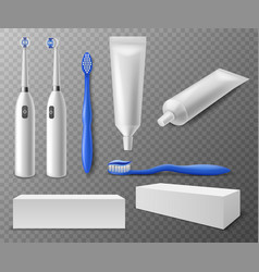 Toothbrush and tubes realistic different vector